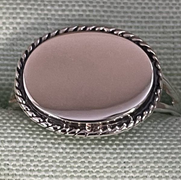 Horizontal Oval Rope Engraved Ring Sterling Silver