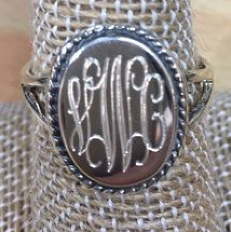 Vertical Rope Engraved Ring Sterling Silver