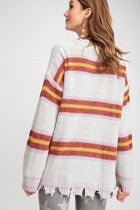 LS Multi Stripe Distressed Sweater Knit Top