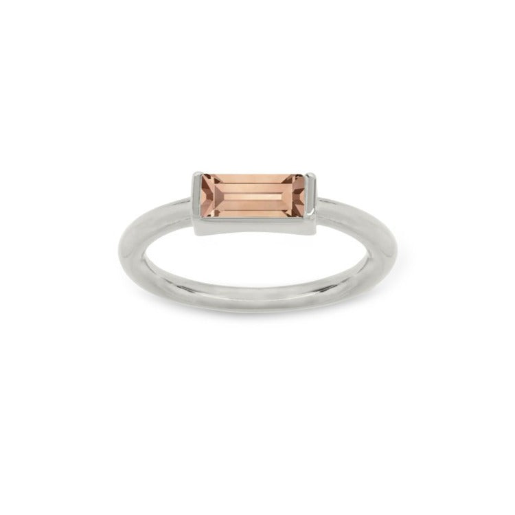 Luca & Danni Mini Hudson Ring in Peach - Silver