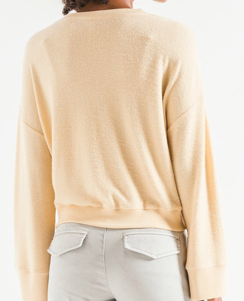 SALE *** Z Supply Sweater Knit Notch Front Yellow Cream
