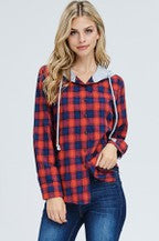 Plaid Woven Button Down Hoodie