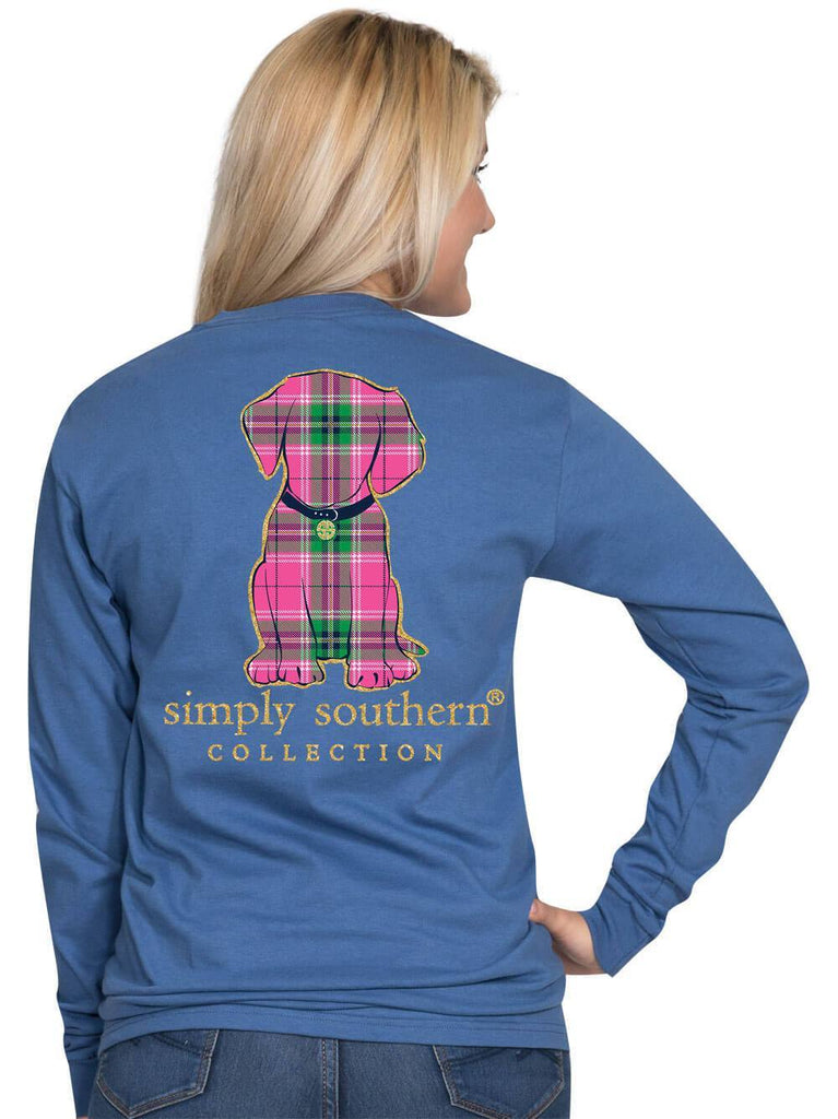 Simply Southern Youth LS Preppy Puppy T-shirt in Moonrise