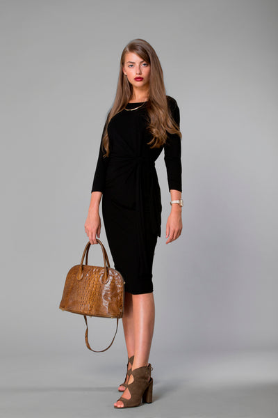 class black dress, comfortable dress, modern fashion, modest fashion, business casual