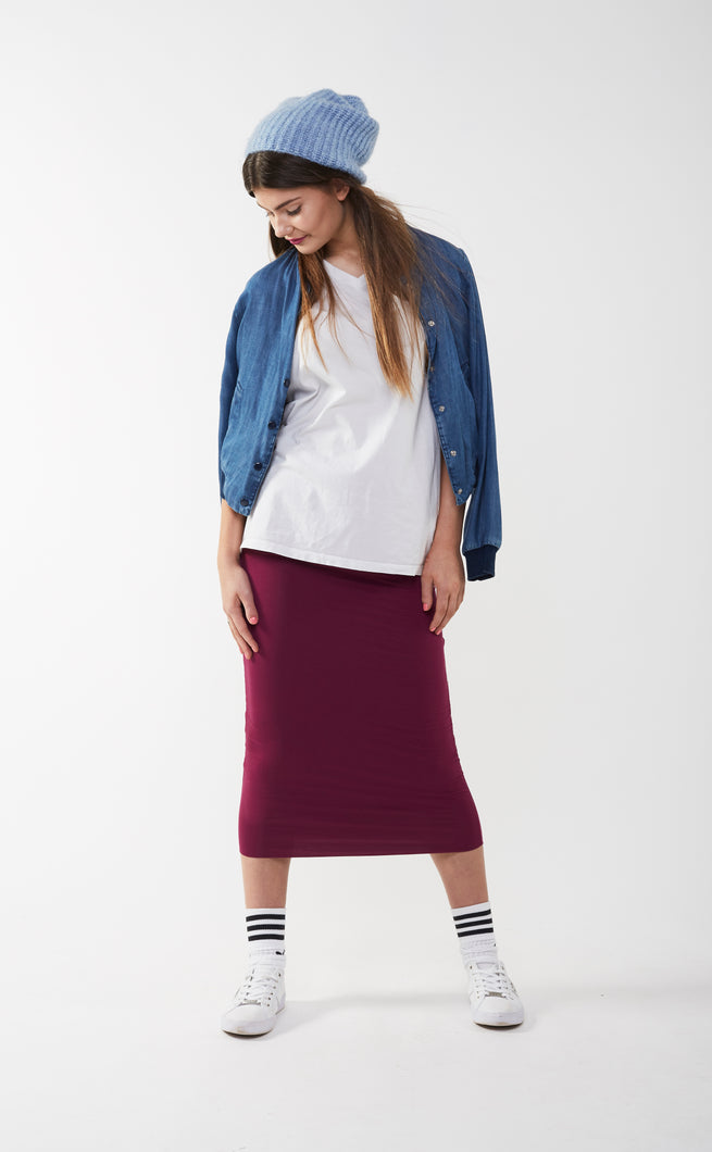 MIDI TUBE SKIRT Burgundy