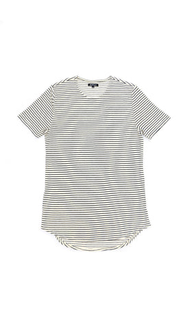 Thermal Curved Hem Tall Tee - Natural Stripe