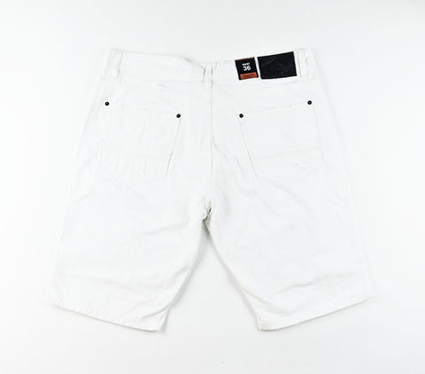 Biker Denim Shorts - White