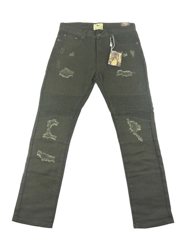 Destroyed Biker Denim - Olive