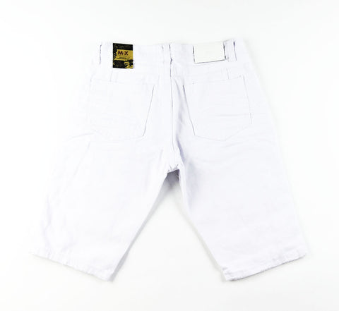 Destroyed Denim Shorts - White