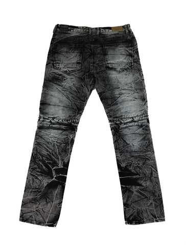 Destroyed Zipper Denim - Black Indigo