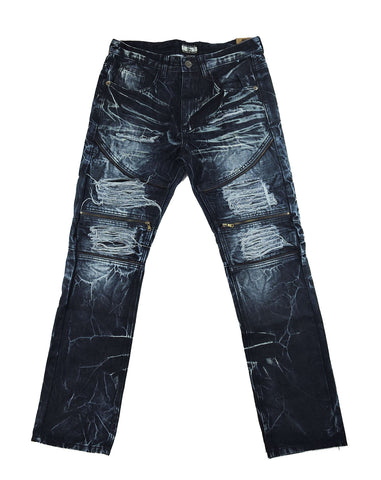 Destroyed Zipper Denim - Dark Indigo