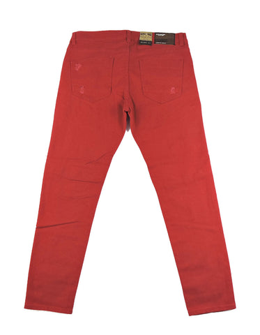 Destroyed Zipper Denim - Red