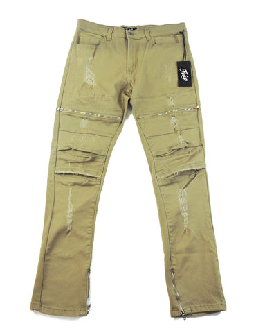 Destroyed Zipper Denim - Khaki