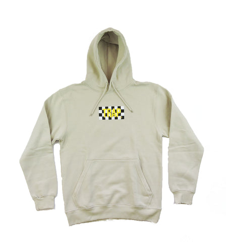 Trap Checkered Hoodie- Beige w/ Yellow