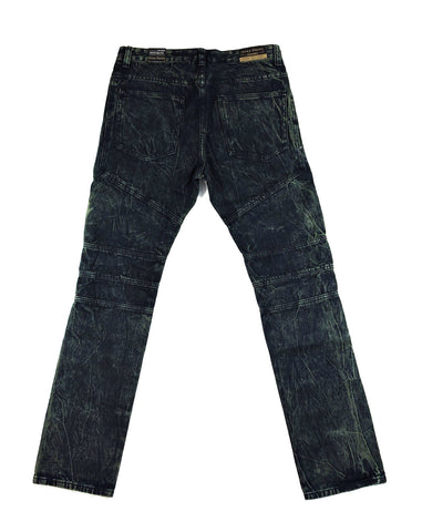 Zipper Biker Denim - Dark Indigo Wash