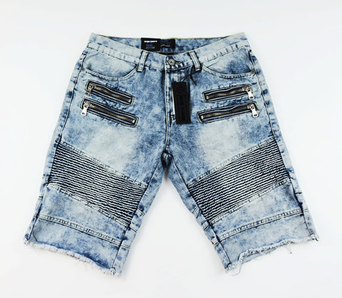 Zipper Denim Biker Shorts - Indigo