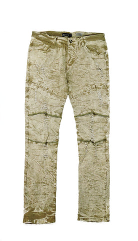 Distressed Zipper Acid Wash Denim - Khaki