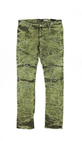 Distressed Zipper Acid Wash Denim - Olive