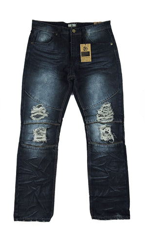 Zipper Destroyed Denim - Dark Indigo