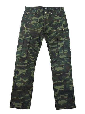 Zipper Denim Cargo Pants - Camo