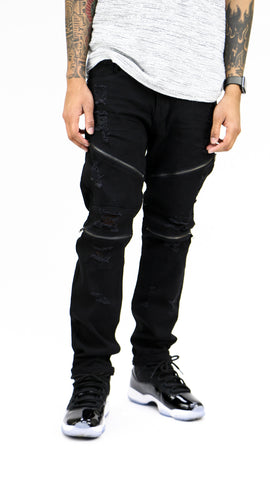 Destroyed Zipper Denim - Black