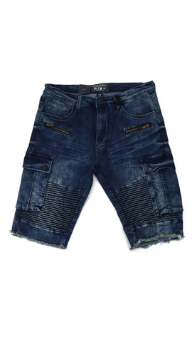 Biker Cargo Denim Shorts - Indigo