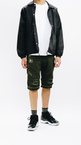 Destroyed Zipper Denim Shorts - Olive