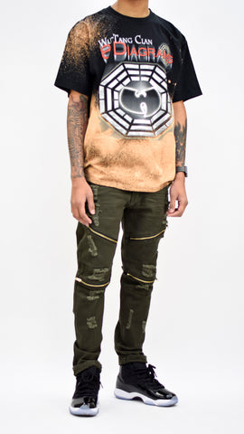 Destroyed Zipper Denim - Olive