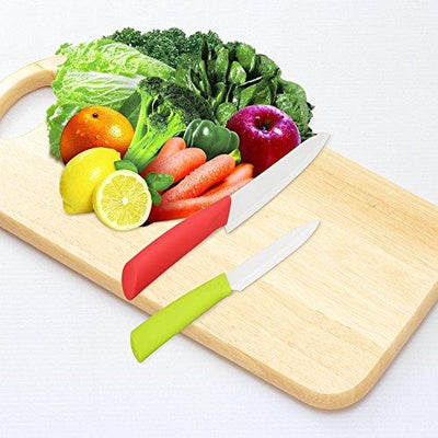 Ceramic Knife Set with Vegetable Peeler and Acrylic Stand - 6 Piece Set