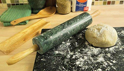 Green Marble Rolling Pin with Wooden Handles and Cradle Base