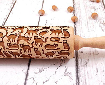 Cat Pattern Embossed Rolling Pin