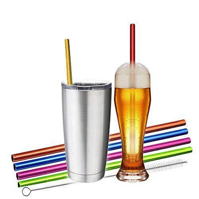 Reusable Metallic Straws - 6 Colorful Pieces