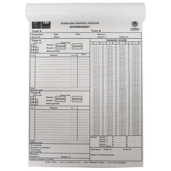 Fiba Score Sheets  Games  Canada Basketball
