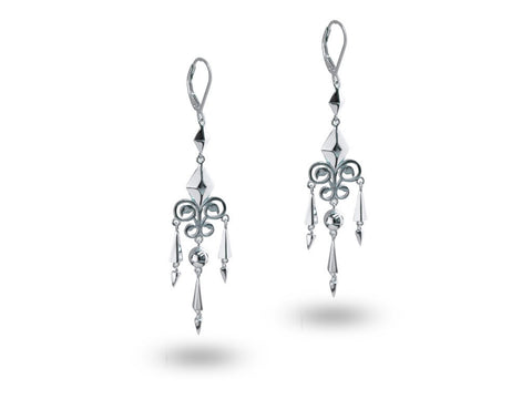 """Jahanara"", The Queen Earrings White Gold"