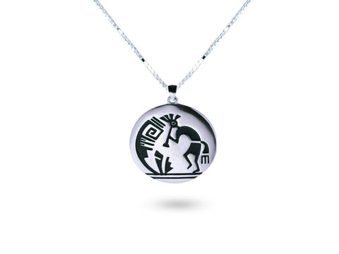 """Kokopelli"", Symbol of Fertility and Good Crop, Necklace White Gold"