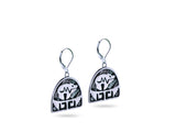 """Bear"", Symbol of Strength and Leadership Earrings, White Gold"