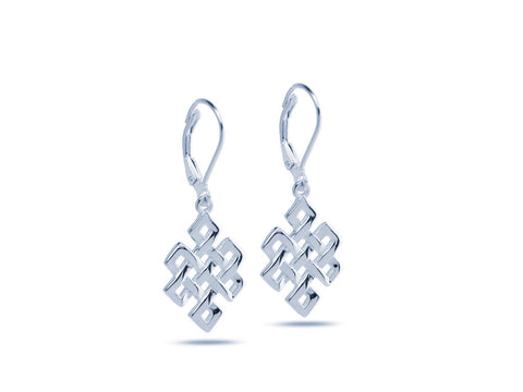 """Srivatsa"" A Knot representing Karmic Consequences, Earrings White Gold"