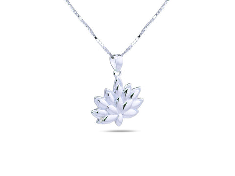 """Lotus"", A Symbol of Spiritual Unfoldment Necklace White Gold"