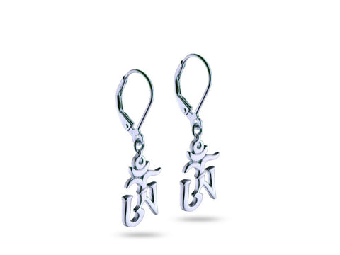 """Om"" A Symbol of Consequence and Unity, Earrings White Gold"