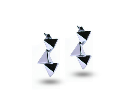 """Cualli"" The Good One Earrings in White Gold"