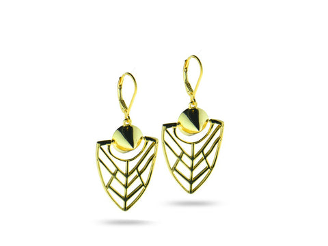 """Tlalli"" The Earth, Earrings in Yellow Gold"