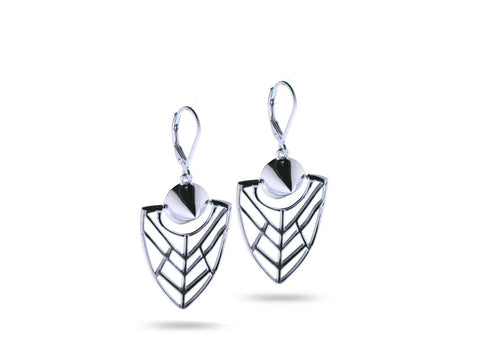 """Tlalli"" The Earth, Earrings in White Gold"