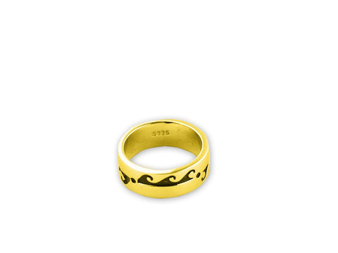 """Water Waves"" Symbol of Life Cycles, Ring Yellow Gold"