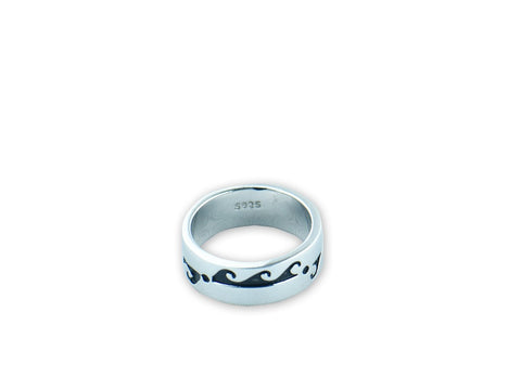 """Water Waves"" Symbol of Life Cycles, Ring White Gold"