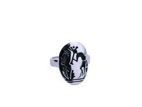 """Kokopelli"", Symbol of Fertility and Good Crop, Ring White Gold"