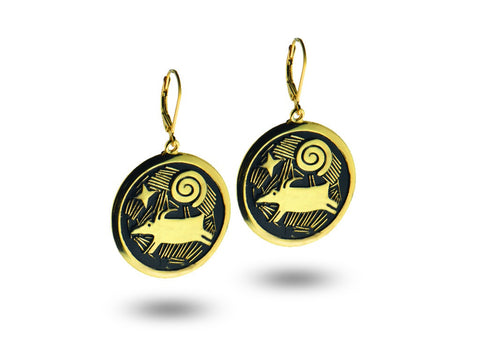 """Morning Star"" Symbol of Hope and Guidance, Earrings Yellow Gold"