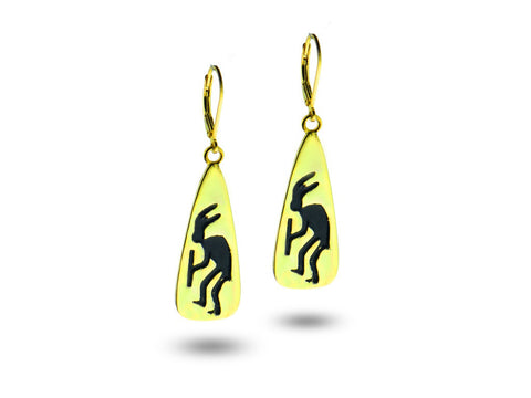 """Kokopelli"", Symbol of Fertility and Good Crop, Earrings Yellow Gold"
