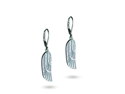 """Isis"", The Winged Goddess Earrings White Gold"