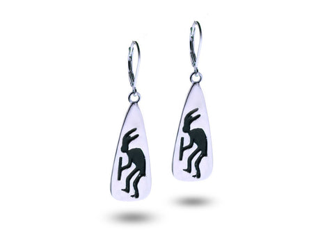 """Kokopelli"", Symbol of Fertility and Good Crop, Earrings White Gold"