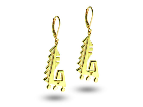 """Achcauhtli"" The Leader, Earrings in Yellow Gold"